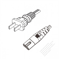China 2-Pin Plug to IEC 320 C7 Power Cord Set (PVC) 1.8M (1800mm) Black  60227 IEC 52 (RVV300/300) 2X0.75mm² )