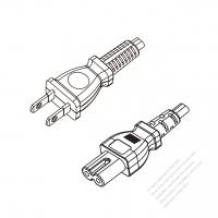 Japan 2-Pin Plug to IEC 320 C7 Power cord set (HF - Halogen free) 1.8M (1800mm) Black (EM-OOCTFK 2X0.75MM )