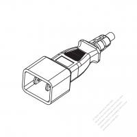Taiwan/ Japan 2-Pin 2 wire Straight AC Plug, 7A~12A 125V