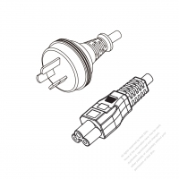 Australia 3-Pin Plug to IEC 320 C5 Power Cord Set (PVC) 1.8M (1800mm) Black  (H03VV-F 3G 0.75MM2 )