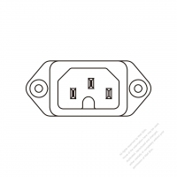 AC Socket IEC 60320-1 (C16) Appliance Inlet, Screw Type, 10A/ 15A