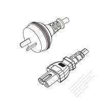 Australia 2-Pin Plug to IEC 320 C7 Power Cord Set (PVC) 1.8M (1800mm) Black  (H05VVH2-F 2X0.75MM )