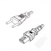 Switzerland 2-Pin Plug to IEC 320 C7 Power Cord Set (PVC) 1.8M (1800mm) Black  (H05VVH2-F 2X0.75MM )