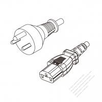 Denmark 3-Pin Plug to IEC 320 C13 Power Cord Set (PVC) 1.8M (1800mm) Black  (H05VV-F 3G 0.75MM2 )
