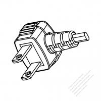 Taiwan 2-Pin Plug (Urea Housing) /Cable End Remove Outer Sheath 20mm Semi-Stripe Inner Sheath 13mm AC Power Cord - Molding PVC 1.8M (1800mm) Black  (VCTFK 2X0.75mm FLAT )