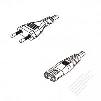 Brazil 2-Pin Plug To IEC 320 C7 AC Power Cord Set Molding (PVC) 0.5M (500mm) Black ( H03VVH2-F 2X 0.75mm2 )