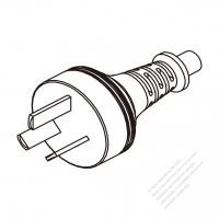 Argentina 3-Pin Plug/ Cable End Cut AC Power Cord - Molding PVC 1.8M (1800mm) Black  (H05VV-F  3G 0.75mm2  )