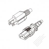 Japan 3-Pin Plug to IEC 320 C13 Power cord set (HF - Halogen free) 1.8M (1800mm) Black (EM-ECTF 3X0.75MM )