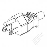 Taiwan/ Japan 3-Pin Straight AC Plug, 7/ 11/15A 125V