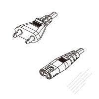 India 2-Pin Plug To IEC 320 C7 AC Power Cord Set Molding (PVC) 1.8M (1800mm) Black (YY 2C 0.75mm2 )