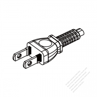Japan 2-Pin Semi-Insulation Plug/ Cable End Cut AC Power Cord - Molding PVC 1.8M (1800mm) Black  (60227 IEC 52 2X 0.75mm2 )