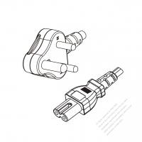South Africa 2-Pin Angle Type Plug to IEC 320 C7 Power Cord Set (PVC) 1.8M (1800mm) Black  (H03VVH2-F 2X0.75MM )