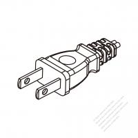 Japan 2-Pin Plug/ Cable End Cut AC Power Cord - Molding PVC 1.8M (1800mm) Black  (VFF  2X 0.75mm² Flat )