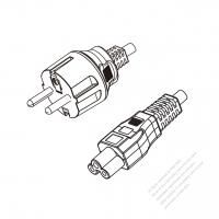 Korea 3-Pin Plug to IEC 320 C5 Power Cord Set (PVC) 1.8M (1800mm) Black  (K60227 IEC 53 3X0.75MM )