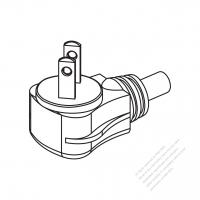 Taiwan/ Japan 2-Pin 2 wire Angle Type AC Plug, 2.5A/7A/9A/11A/15A 125V