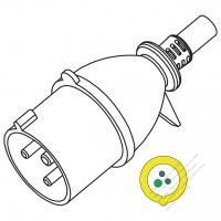 IEC 309 ・IP44 防沫保護 ・2 P + E 工業用ACプラグ ・32A 110V・ 30A (4H)