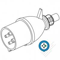IEC 309 ・IP44 防沫保護 ・3P + E 工業用ACプラグ・32A 230V (9H)
