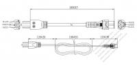 北米3 ピン・  NEMA 5-15P プラグ・IEC 320 C5 コネクタ付き電源コードセット・ 一体成形 タイプ・ PVC ワイヤー ・ 長さ1.8M・ 黒 (SVT 18/3C/60C )