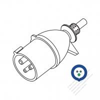 IEC 309 ・IP 20 ・2 P + E・工業用AC プラグ・16A 220V (6H)