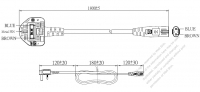 英国 UK 3 ピン プラグ・IEC 320 C7 コネクタ付き電源コードセット・ 一体成形 タイプ・ PVC ワイヤー ・ 長さ1.8M・ 黒 ( H03VVH2-F 2X 0.75mm² )