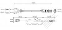 北米2 ピンプラグ・IEC 320 C7 コネクタ付き電源コードセット・超音波組み立て- PVC ワイヤー ・ 長さ1.8M・ 黒 (NISPT-2 18/2C/60C )