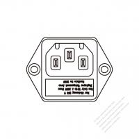 IEC 320 (C14) 家電製品用ACソケット・ ネジ穴付・ 10A 250V