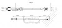 台湾 3 ピン プラグ・IEC 320 C13 コネクタ付き電源コードセット ・ 一体成形 タイプ・ PVC ワイヤー ・ 長さ1.8M・ 黒 (VCTF 3X 0.75mm² 丸形 )
