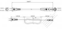 台湾 2 ピンプラグ・IEC 320 C7 コネクタ付き電源コードセット・超音波組み立て- PVC ワイヤー ・ 長さ1.8M・ 黒 (VCTFK 2X 0.75mm² )