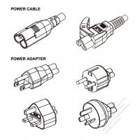 ノート専用各国アダプタ電源コード・ 北美/欧州/英国/豪州+C5ミッキー型コネクタアダプタ・ 電源コードミッキー型プラグSheet A +ミッキー型コネクタ・1000mm・ 2 P + 接地。・10A/125V(ストレート形)(引き出しが簡単なタイプ)