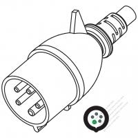 IEC 309 ・IP44 防沫保護 ・4 P + E 工業用ACプラグ ・32A 690V (5H)