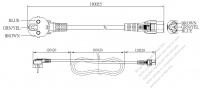 韓国3 ピン・  アングル型 プラグ・IEC 320 C5 コネクタ付き電源コードセット・  一体成形 タイプ・ PVC ワイヤー ・ 長さ1.8M・ 黒 ( H05VV-F 3G 0.75mm² )