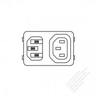 IEC 320 (C14) 家電製品用ACインレット変換 IEC 320 Sheet F アウトレット・10A 250V