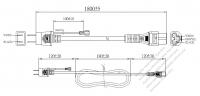 日本3 ピン プラグ・IEC 320 C5 コネクタ付き電源コードセット・ 一体成形 タイプ・ PVC ワイヤー ・ 長さ1.8M・ 黒 (VCTF 3X 0.75mm² 丸形 )