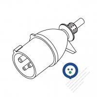IEC 309 ・IP44 防沫保護 ・2 P + E 工業用ACプラグ ・16A 220V(6H)