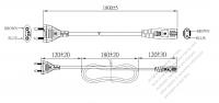 ブラジル 2 ピンプラグ・IEC 320 C7 コネクタ付き電源コードセット・ 一体成形タイプ・ PVC ワイヤー ・ 長さ1.8M・ 黒 ( H03VVH2-F 2X 0.75mm² )