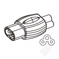 パソコン用ACアダプタ・メガネ型プラグ変換C5ミッキー型 (メス)コネクタ・2 P->3 P・2.5A
