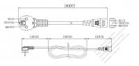 欧州 3 ピン・  アングル型 プラグ・IEC 320 C13 コネクタ付き電源コードセット ・ 一体成形 タイプ・ PVC ワイヤー ・ 長さ1.8M・ 黒 ( H05VV-F 3G 0.75mm² )