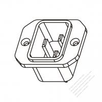 IEC 320 (C20) 家電製品用ACソケット・ネジ穴付・ 16A/20A 250V
