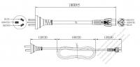 中国 3 ピン プラグ・IEC 320 C5 コネクタ付き電源コードセット・ 一体成形 タイプ・ PVC ワイヤー ・ 長さ1.8M・ 黒 (60227 IEC 53 3*0.75mm² )