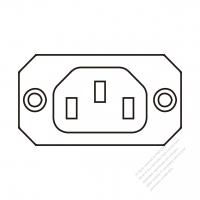 IEC 320 Sheet F 家電製品用ACアウトレット・ ネジ穴付・ 10A/15A