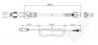 台湾 3 ピン プラグ・IEC 320 C5 コネクタ付き電源コードセット・ 一体成形 タイプ・ PVC ワイヤー ・ 長さ1.8M・ 黒 (VCTF 3X 0.75mm² 丸形 )