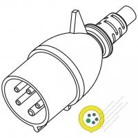 IEC 309 ・IP44 防沫保護 ・4 P + E 工業用ACプラグ ・32A 110V(4H)