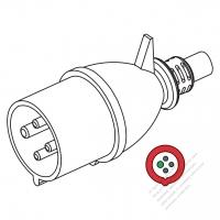 IEC 309 ・IP44 防沫保護 ・3P + E 工業用ACプラグ・32A 380V to 440V (3H)