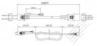 日本3 ピン プラグ・IEC 320 C13 コネクタ付き電源コードセット ・ 一体成形 タイプ・ PVC ワイヤー ・ 長さ1.8M・ 黒 (VCTF 3X 0.75mm² 丸形 )