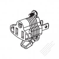 ACアダプタ・北米NEMA 1-15P プラグ変換NEMA 5-15Rコネクタ・2 P->3 P(超音波アセンブリ引き出しが簡単なタイプ)
