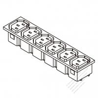 IEC 320 Sheet F 家電製品用ACアウトレット ・ 6個口・ 10A/15A