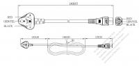 インド 3 ピン・  アングル型プラグ・IEC 320 C5 コネクタ付き電源コードセット・ 超音波組み立て- PVC ワイヤー ・ 長さ1.8M・ 黒 (YY 3G 0.75mm² (丸形)
