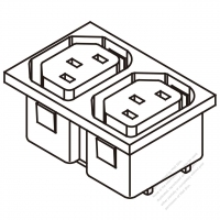 IEC 320 Sheet F 家電製品用ACアウトレット ・ 2個口・ 10A/15A