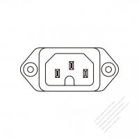 IEC 320 (C16) 家電製品用ACソケット・ ネジ穴付・ 10A/ 15A