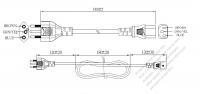 ブラジル 3 ピン プラグ・IEC 320 C13 コネクタ付き電源コードセット ・ 一体成形 タイプ・ PVC ワイヤー ・ 長さ1.8M・ 黒 ( H05VV-F 3G 0.75mm² )